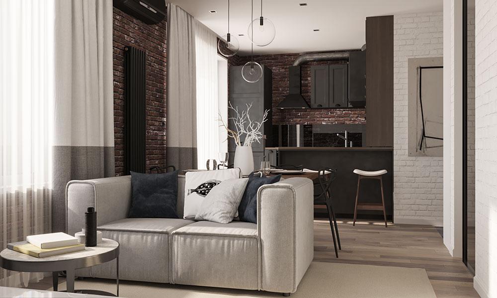 Черный цвет кухни на классическом для лофта цвете кирпича, зонирует пространство и задает умеренный брутальный тон, не дающий заскучать в светлом интерьере