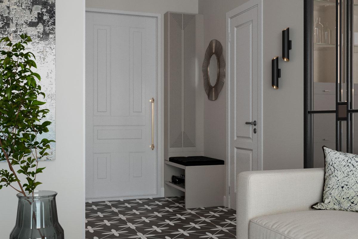 Удобная и уютная прихожая сразу переходит в зону гостиной