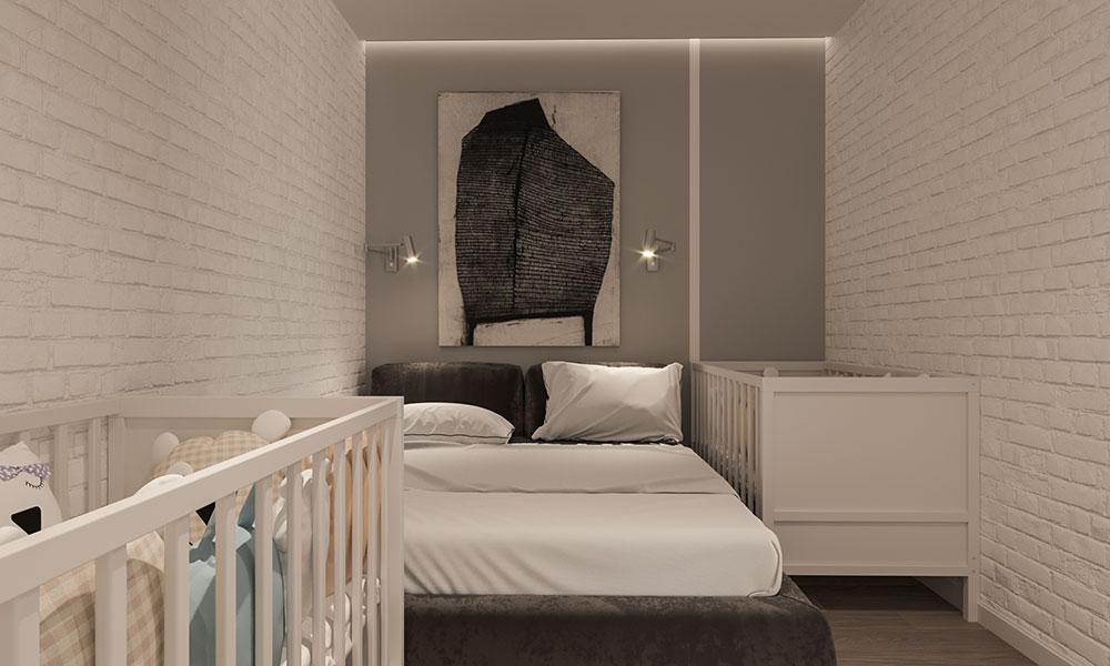 Пока мы выполняли дизайн-проект, появилась чудесная новость, которая добавила вторую кроватку в спальне