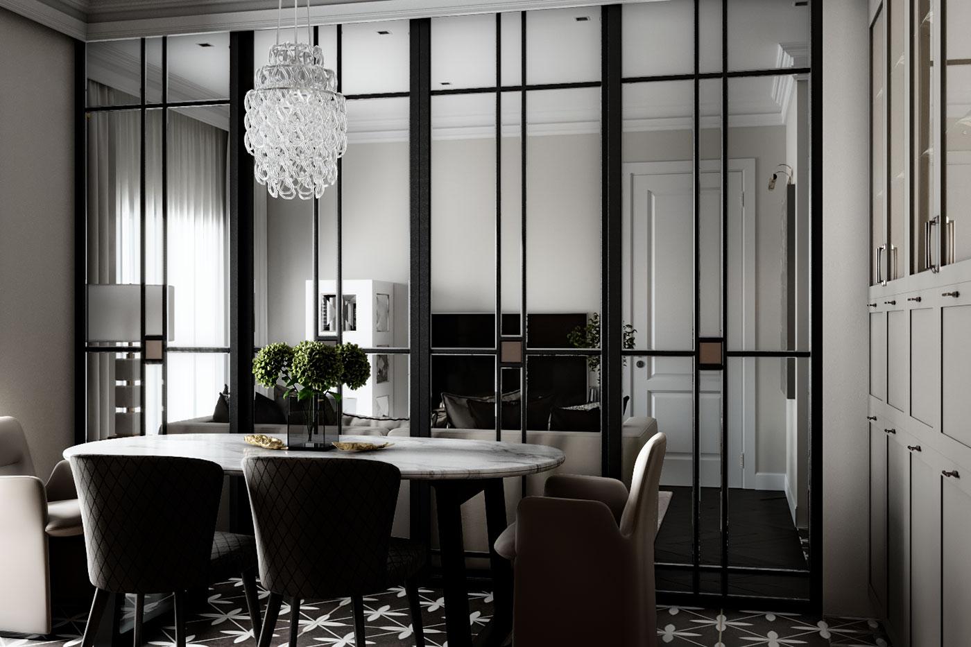 Стеклянная раздвижная перегородка позволяет расширить пространство, не нарушая покой в гостиной