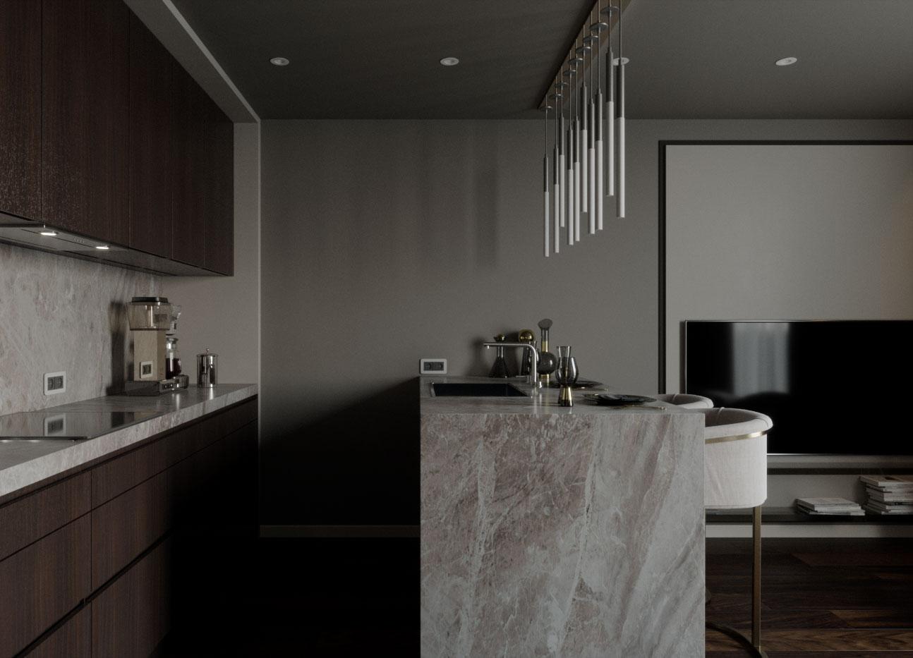 Темное стекло, металл идерево — прекрасное трио для создания мужского интерьера