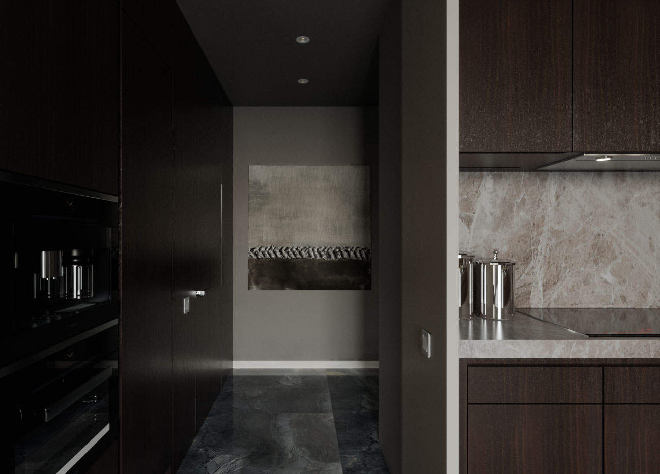 Остров, каменный фартук и столешница на кухне выполнены из керамогранита
