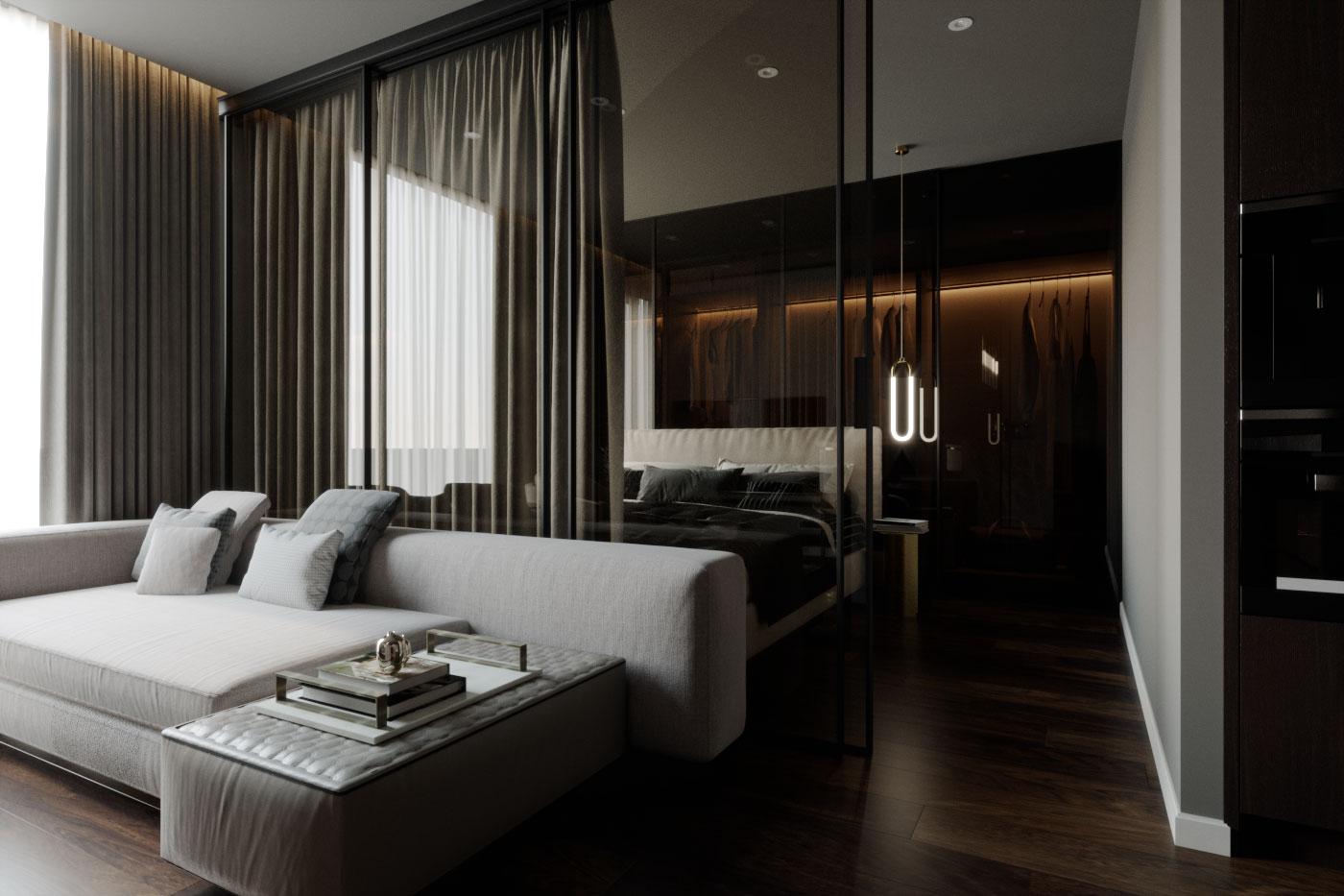 Мягкая мебель и теплое освещение сохраняют баланс и придают уюта