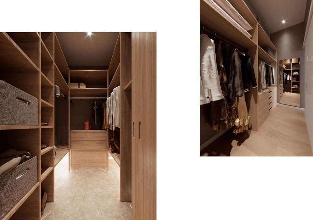 Создание не одной, а двух отдельных гардеробных комнат — удобное решение, которое не занимает одну большую площадь и зонирует хранение вещей