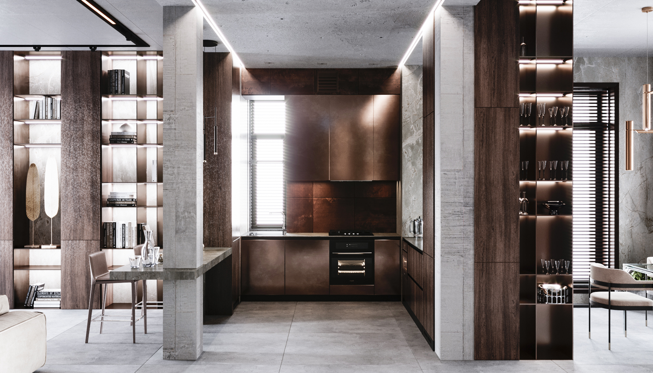 Изначально мы предлагали выполнить кухню из металла, но заказчикам стала ближе идея со средиземноморскими мотивами