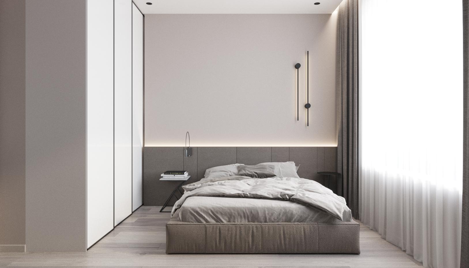 Спальня в стиле минимализм, где нет ничего лишнего, только самое необходимое - логичное решение для квартиры под аренду