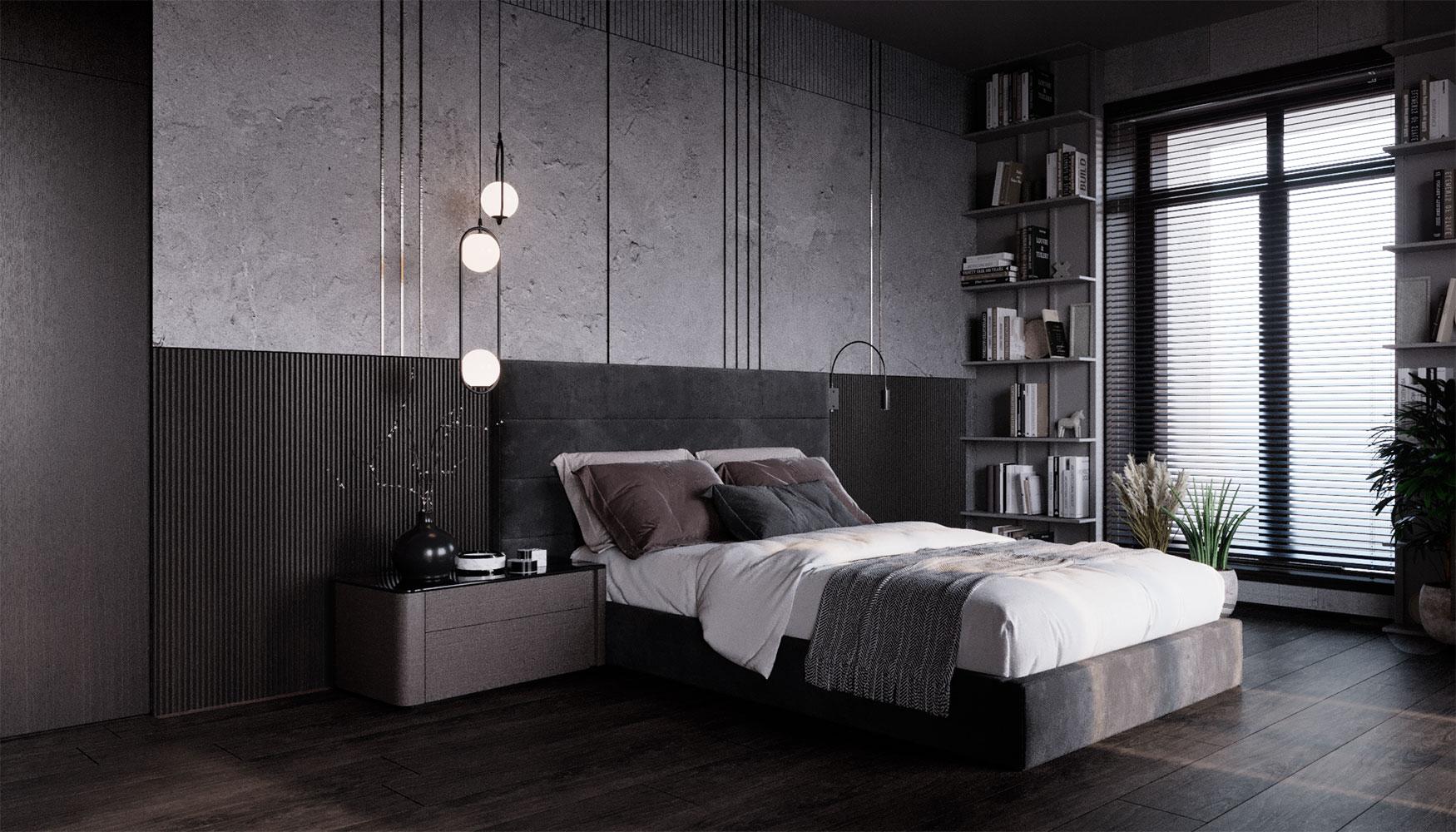 Преимущественно стены спален в таунхаусе оформлены штукатуркой с участием вставок из металлического профиля
