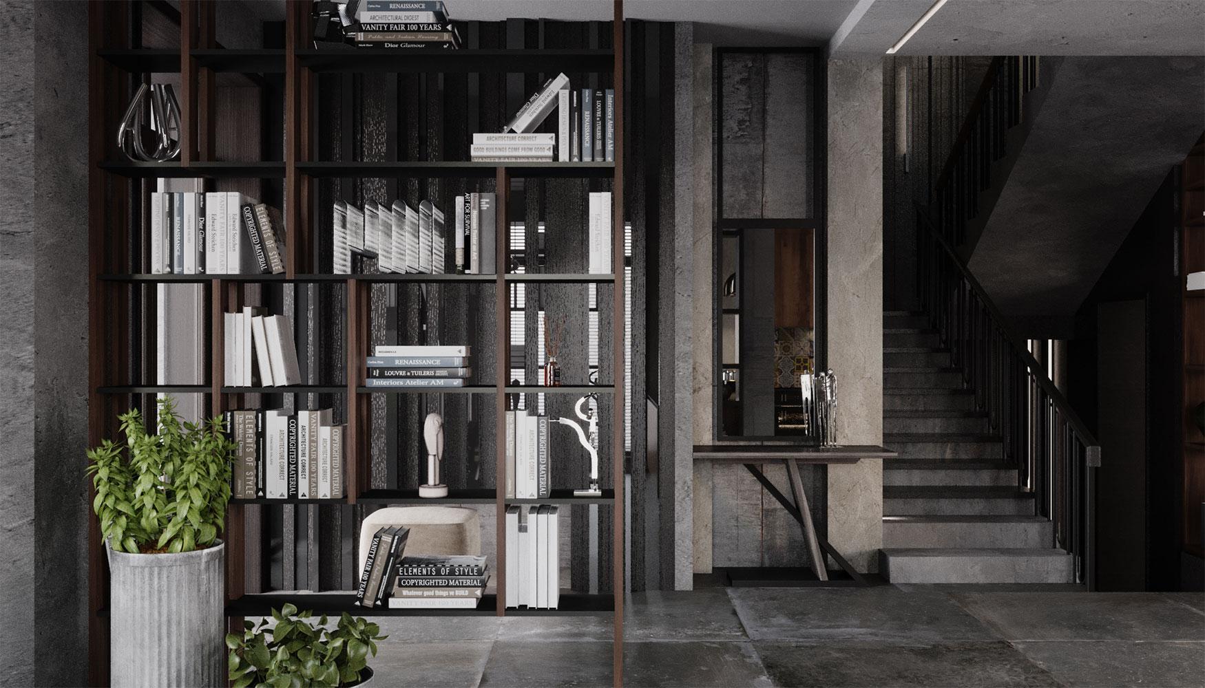 Необычным и уникальным предметом в зоне прихожей стала консоль с зеркалом в раме до потолка, по эскизам ведущего дизайнера
