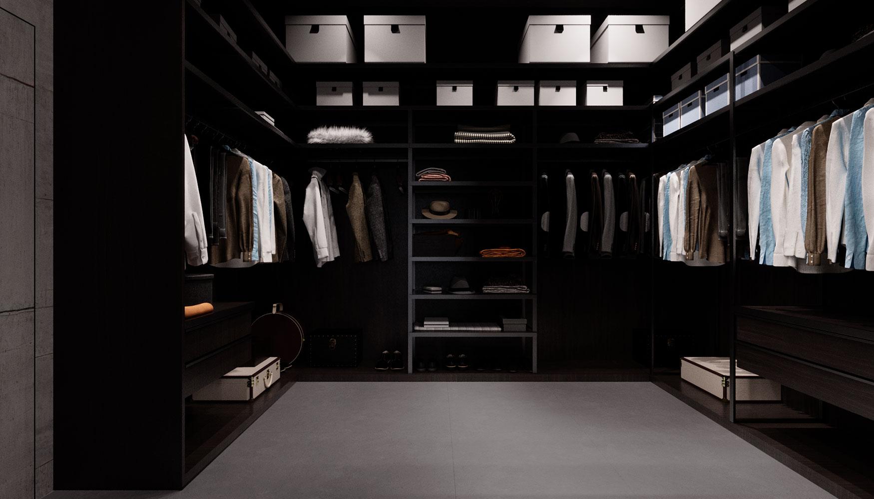 Две большие гардеробные занимают значительное пространство второго этажа таунхауса