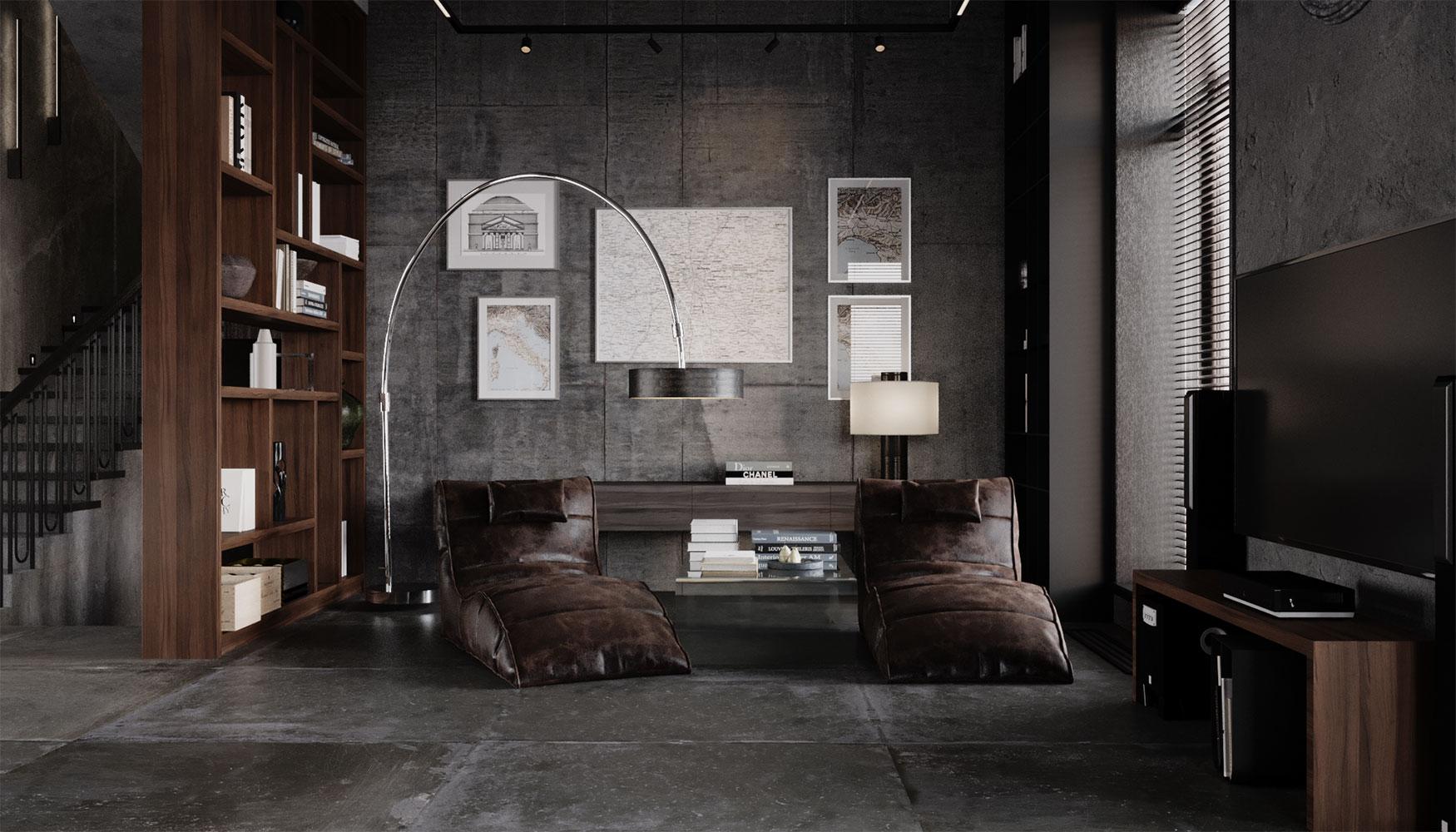 Стеллажи часто используются нами для зонирования пространства вместо стен, как в прихожей, так и в зоне гостиной