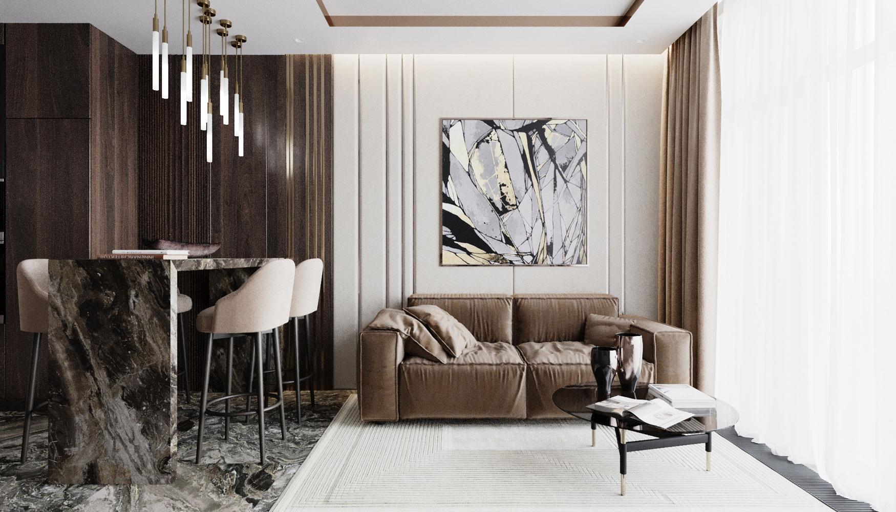 Когда хочется интерьер, похожий на дорогой номер в отеле, на помощь приходит дерево, латунь и мягкие стеновые панели