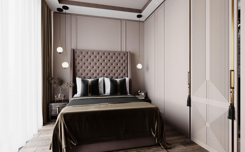 Спальню украшает раздвижная дверь в мини-гардеробную в стиле ар деко