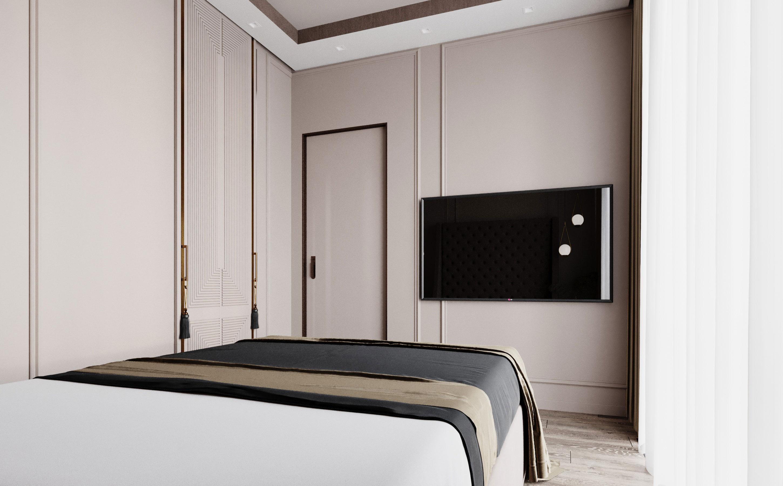 Интерьер выполнен в стиле современная классика, на что указывают аккуратные молдинги на стенах квартиры