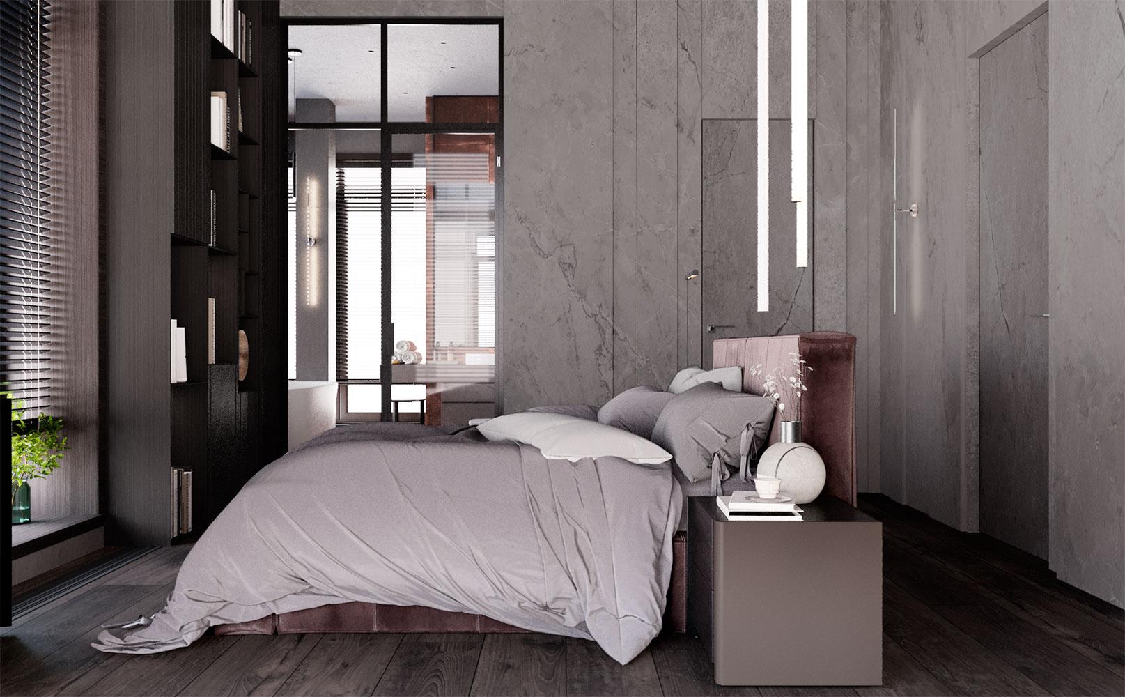 Женская спальня выглядит нежнее и светлее также за счет дополнительной стеклянной стены ванной