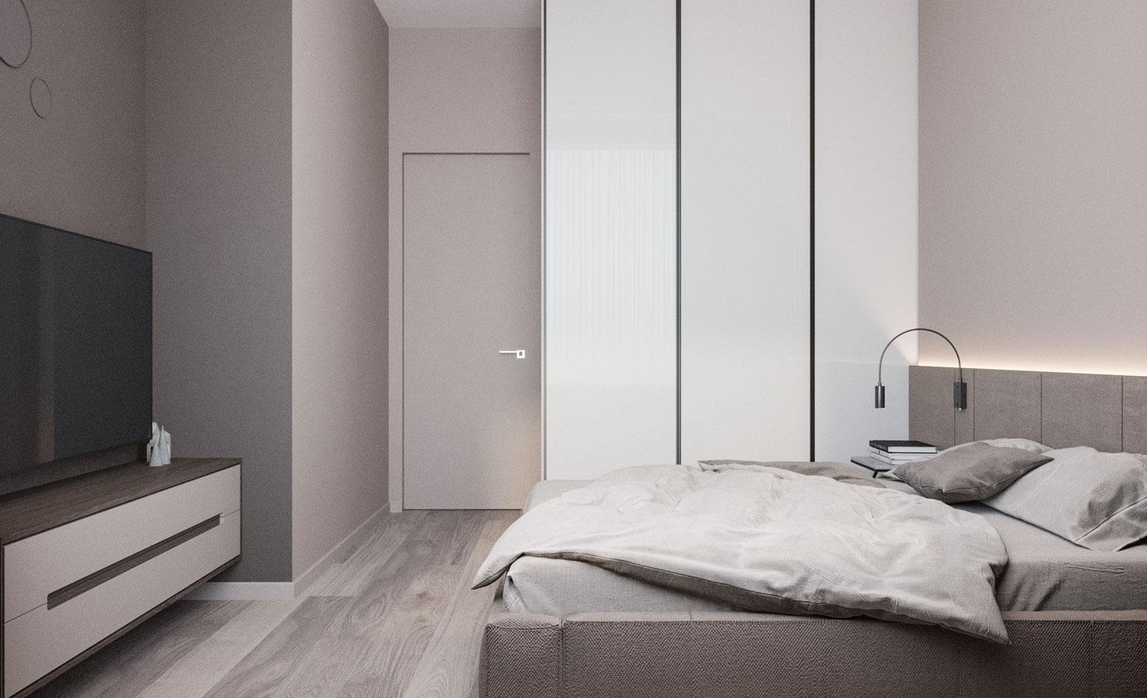 Встроенный шкаф для одежды, зона ТВ с декоративными бра на стене, подсветка за кроватью - сочетают в себе функциональность и стиль