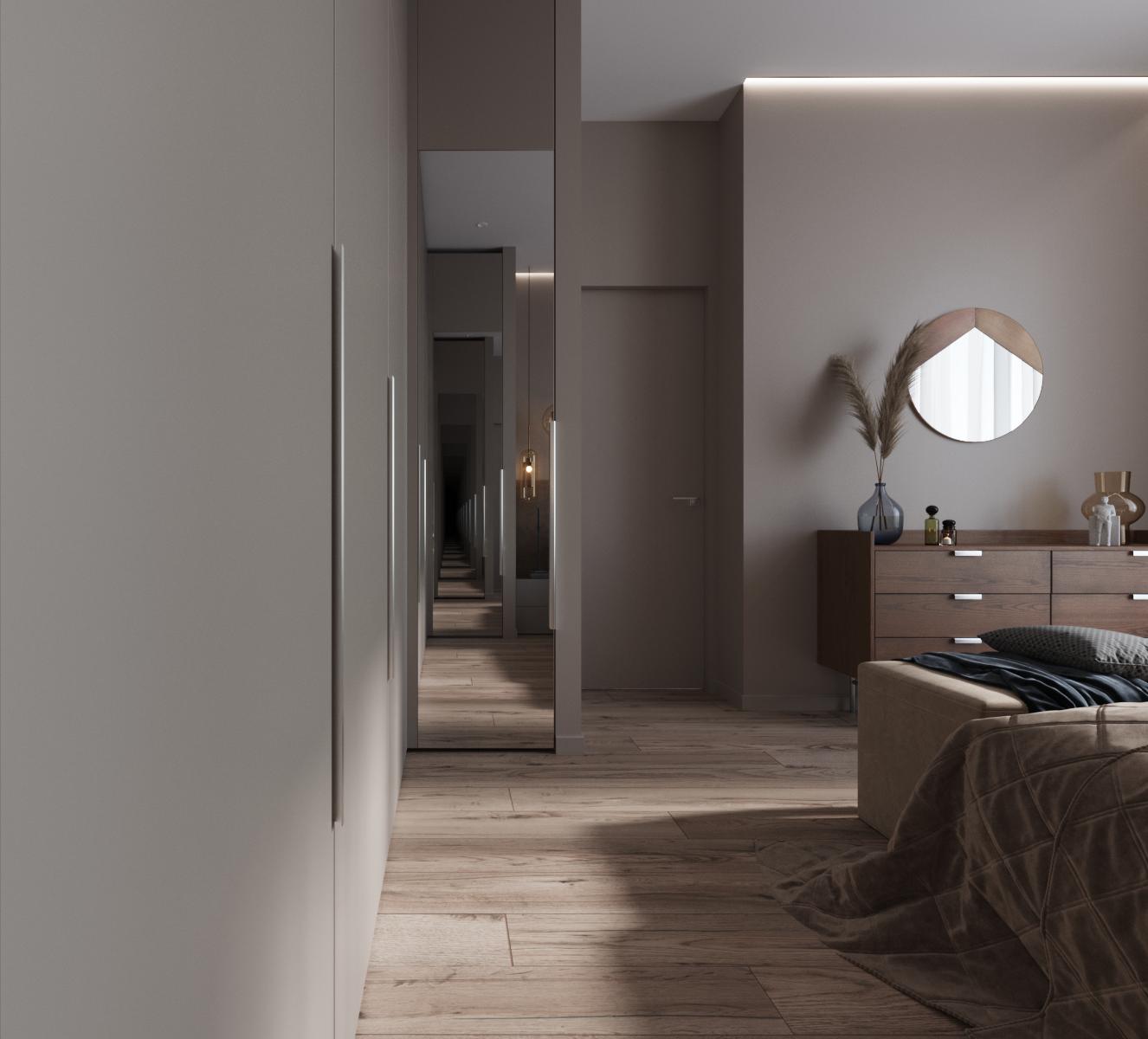 Две зеркальные дверцы шкафа расположены друг на против друга, создавая интересную игру пространством