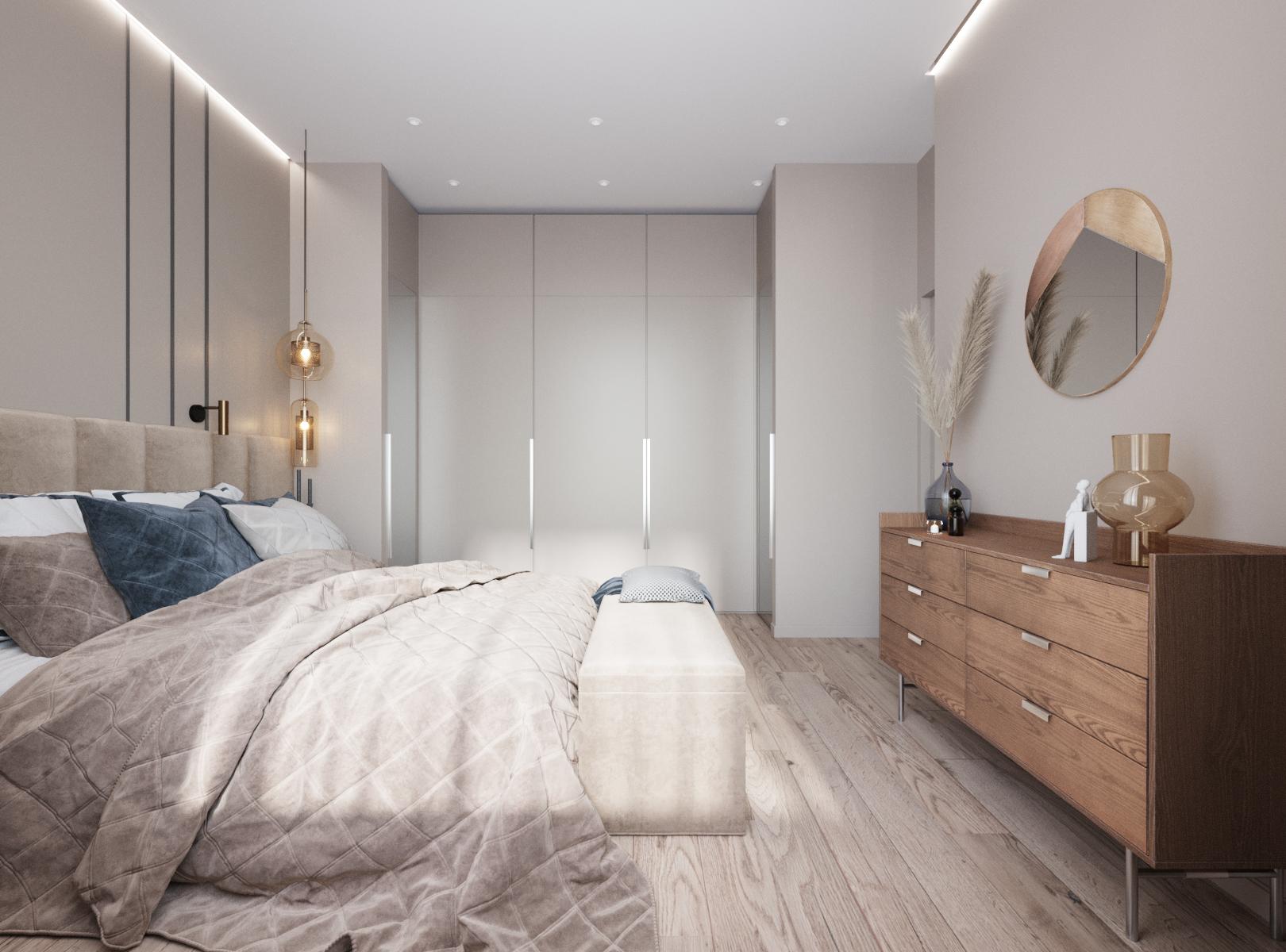 Деревянный комод, круглое зеркало и декор делают интерьер экологичным, продолжая единую концепцию дизайн проекта
