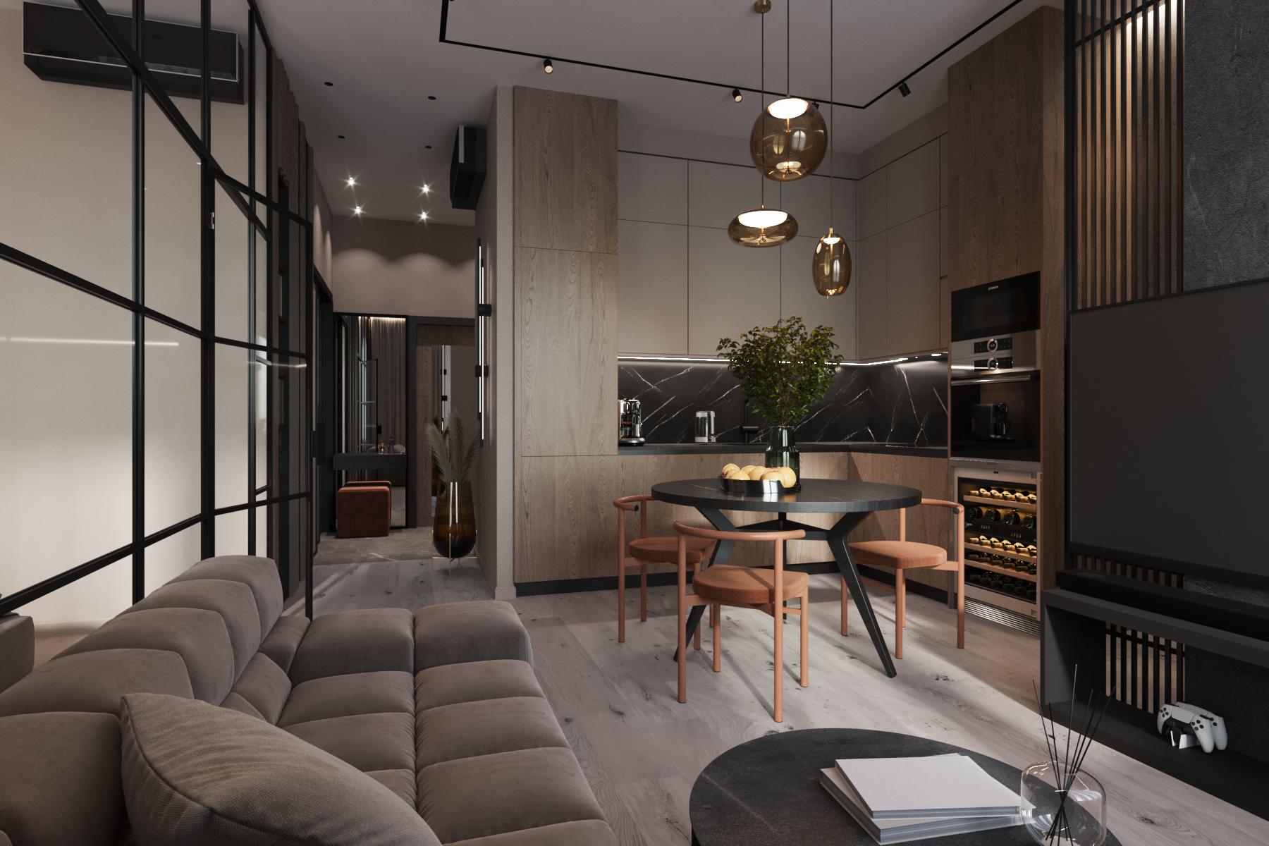 На 50 м2 уместилось: кухня совмещенная с гостиной, рабочая зона за ТВ, спальня, гардеробная, ванная и уютная прихожая