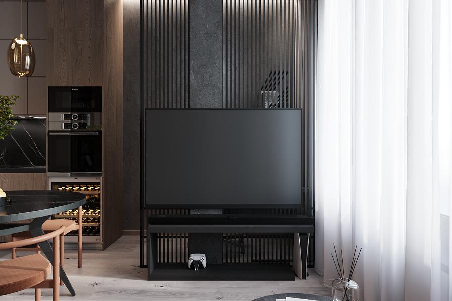 Интересное решение ТВ зоны позволяет спрятать все необходимые провода и сохранить прозрачность конструкции