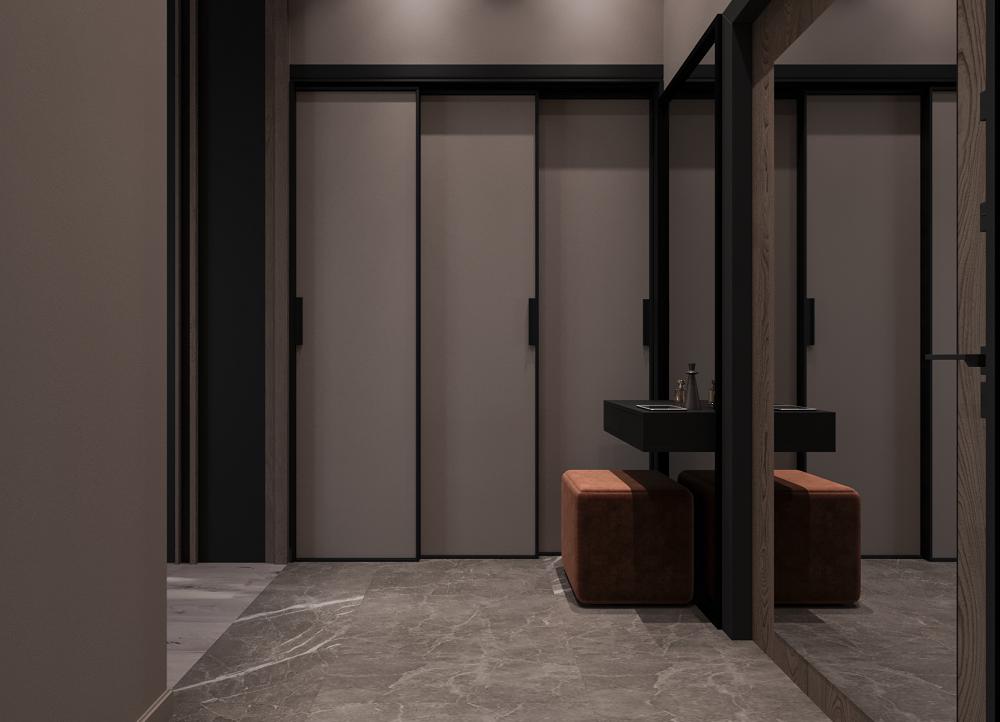 Интерьер квартиры начинается с прихожей, где нас встречает шкаф-купе нестандартной формы