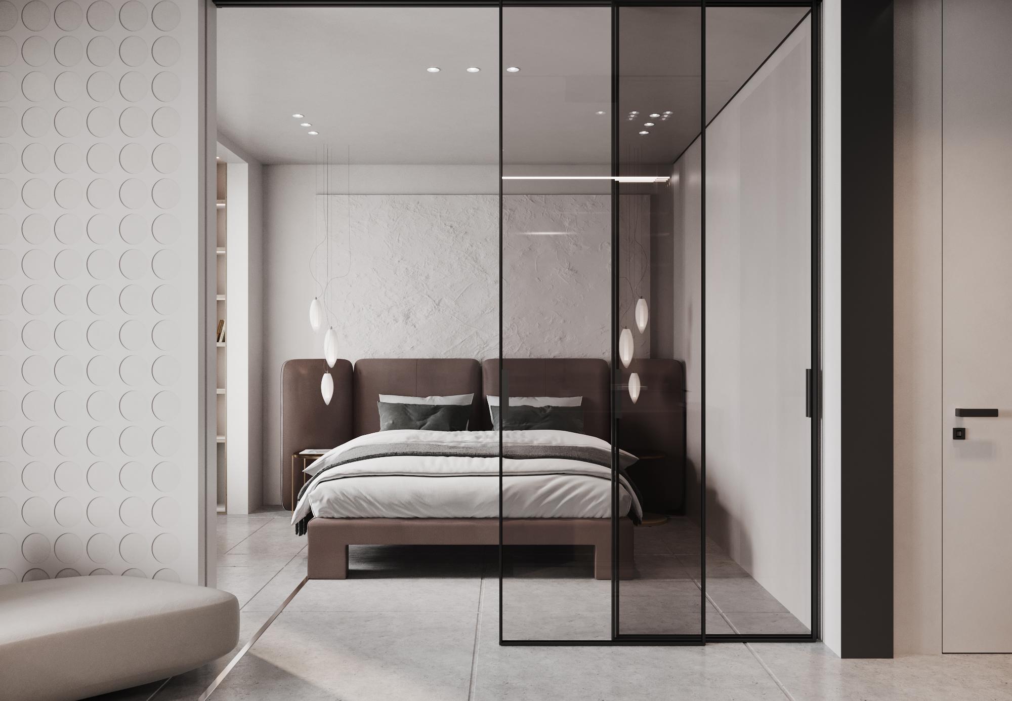 Объемная картина из гипса за кроватью, стена обрамленная гипсовыми панелями, выглядит как игра современного искусства в жилом пространстве