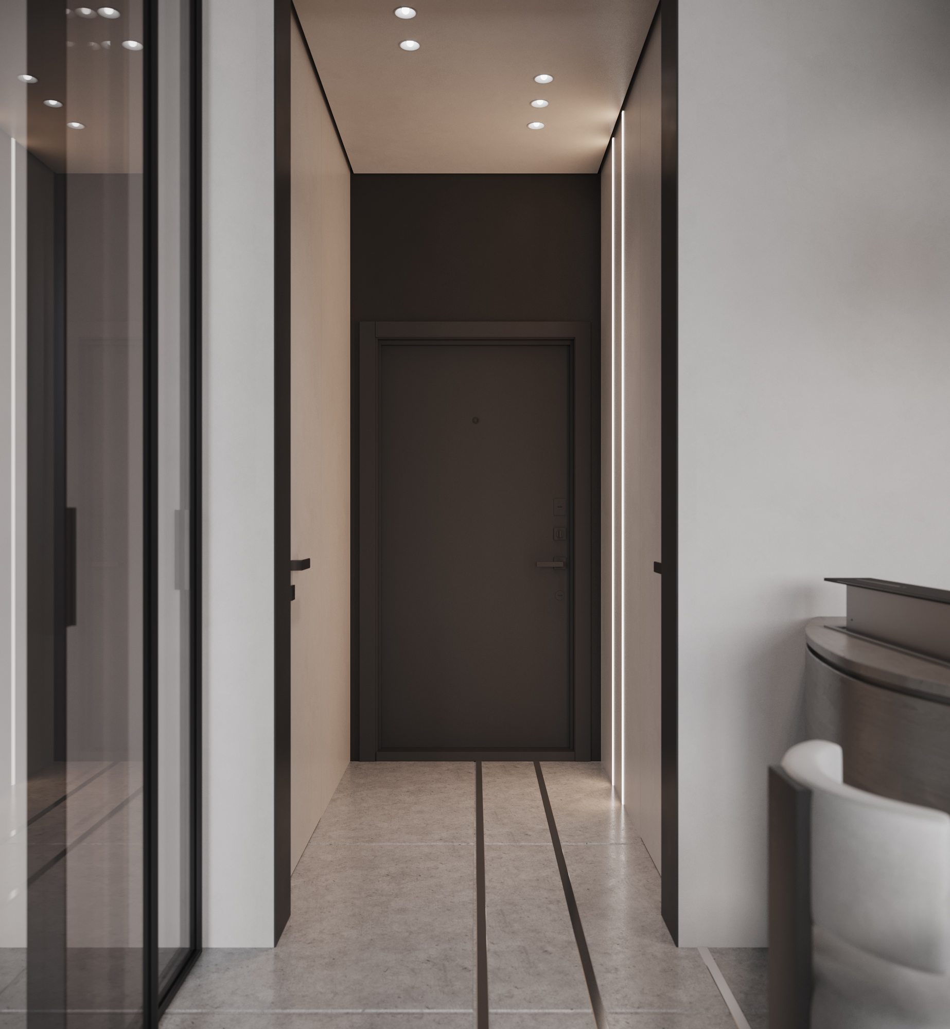 Игра линий формирует геометрию пространства и удлиняет узкий коридор, скрытые двери ведут в гардеробную и ванную