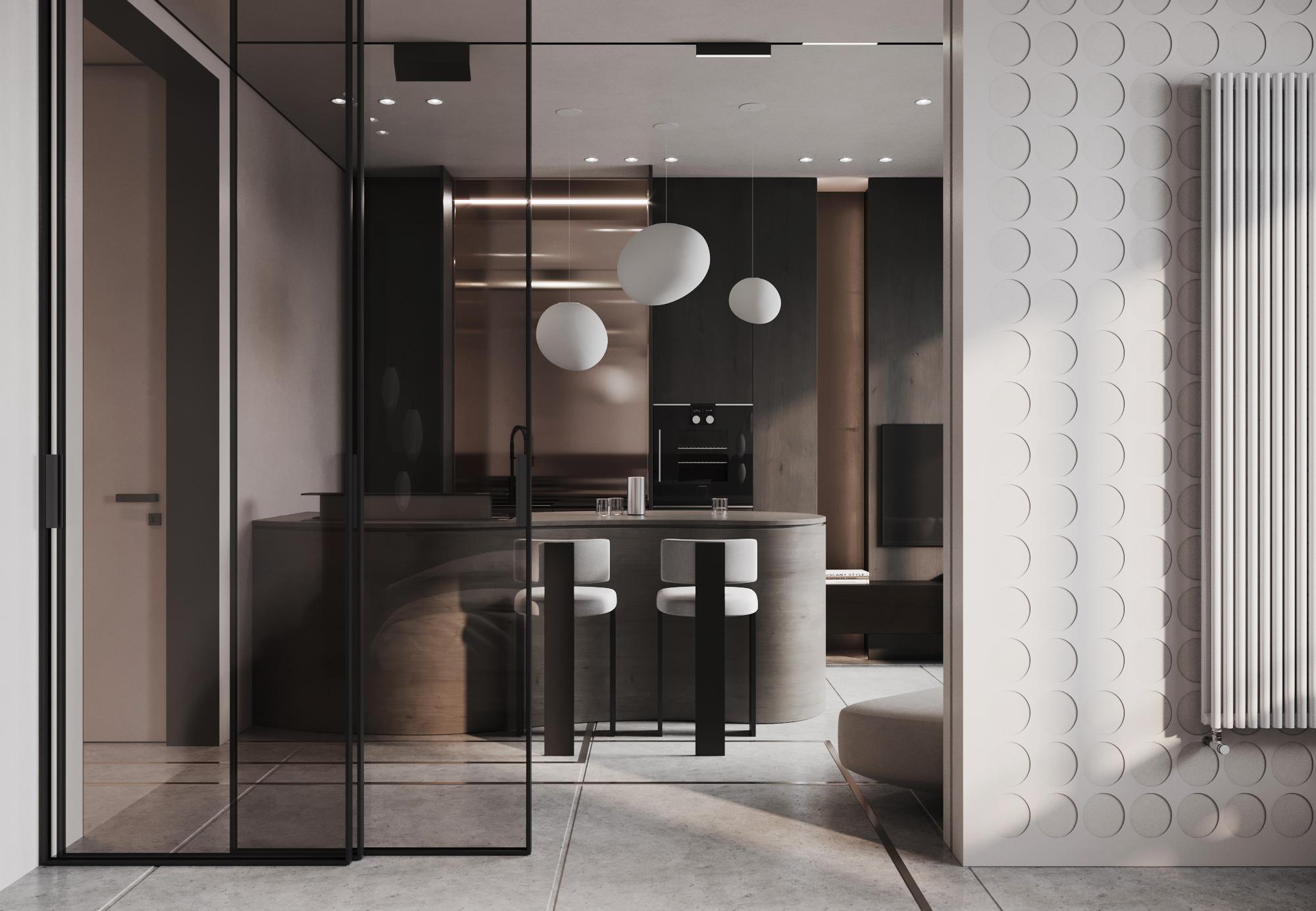 В открытом виде кухня завораживает своим металлическим медным оттенком