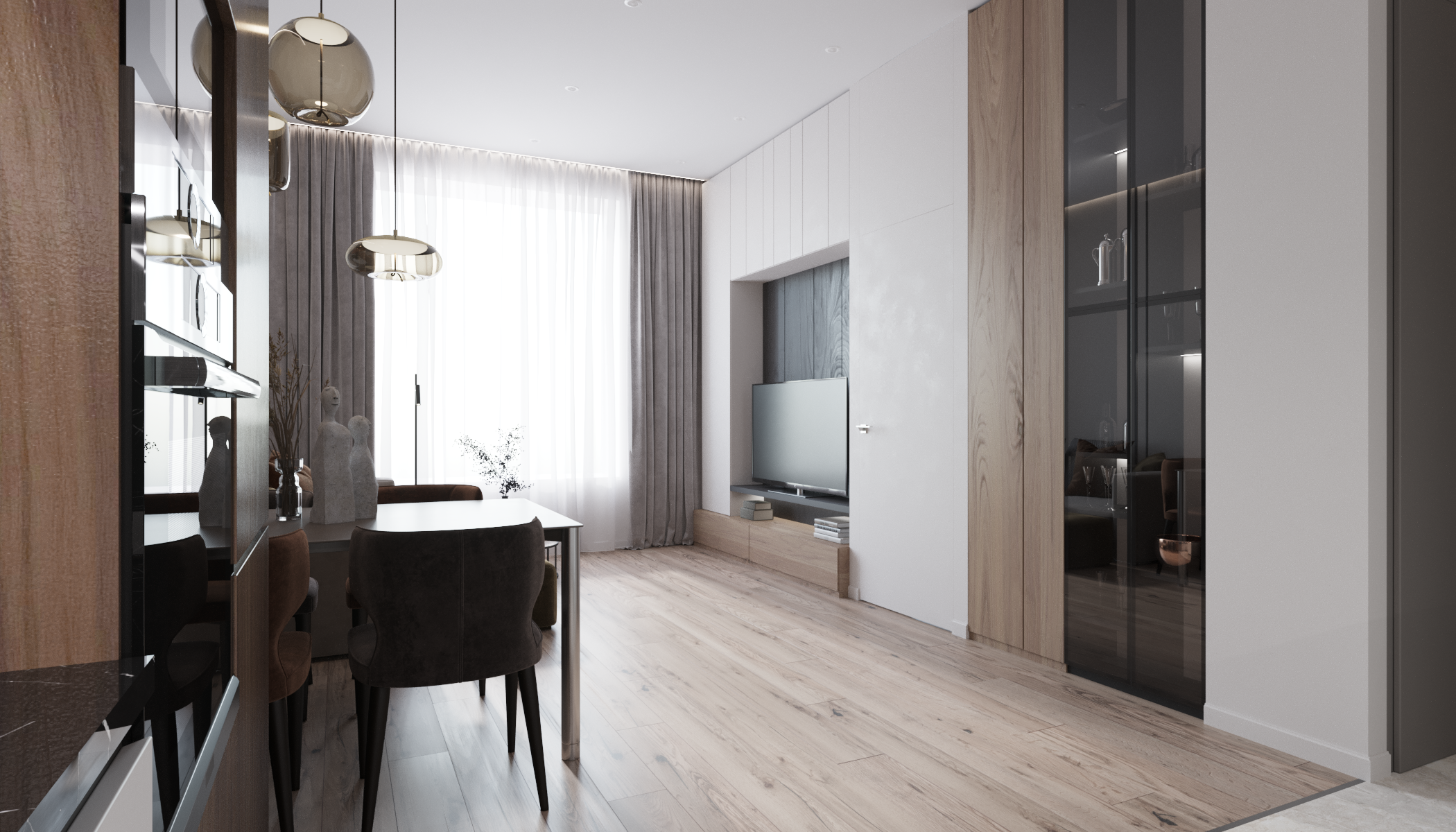 Скрытая система хранения вокруг ТВ удобна в использовании и декорирована под цвет стен, не ломая геометрию пространства