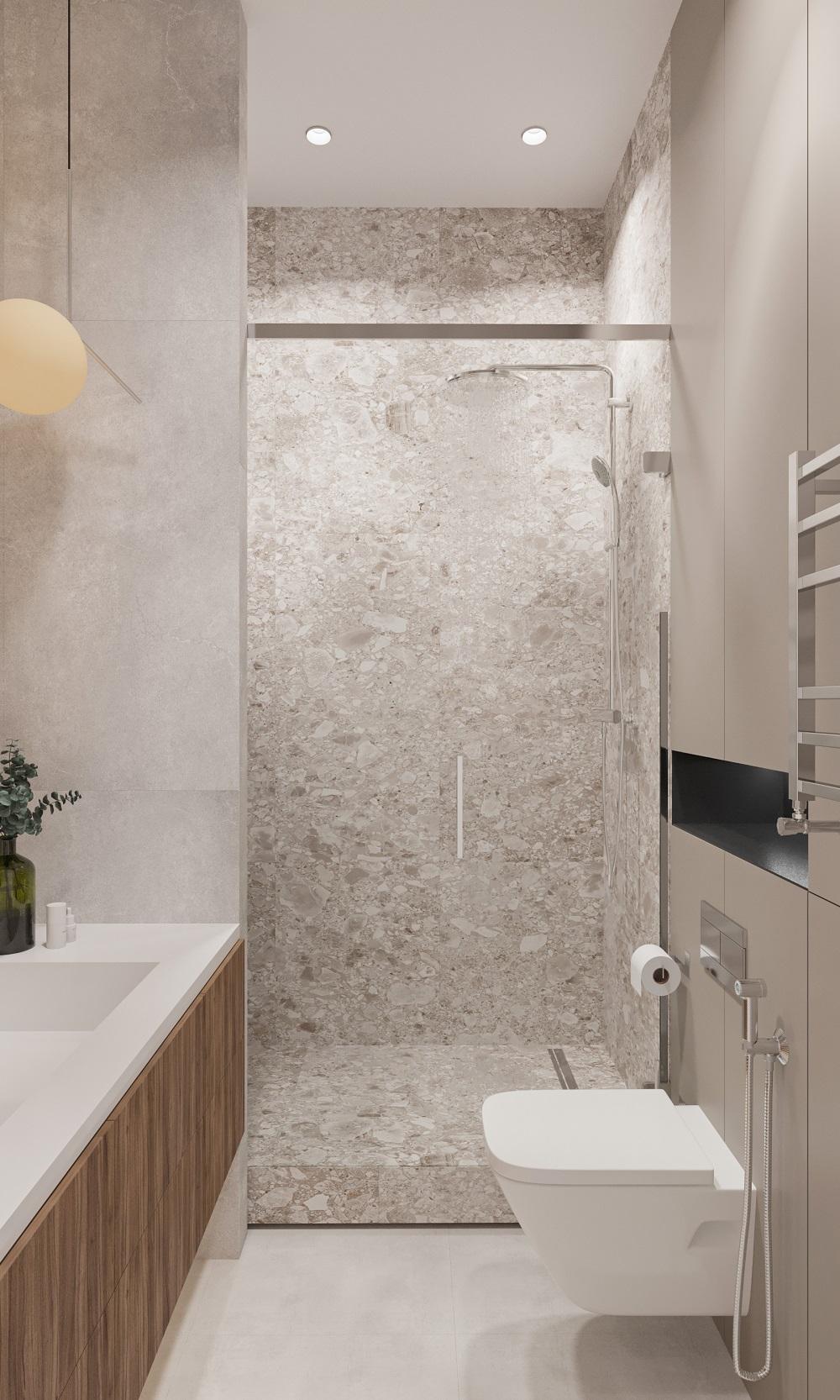 Для небольшой ванной комнаты мы используем душевую со стеклянной прозрачной перегородкой