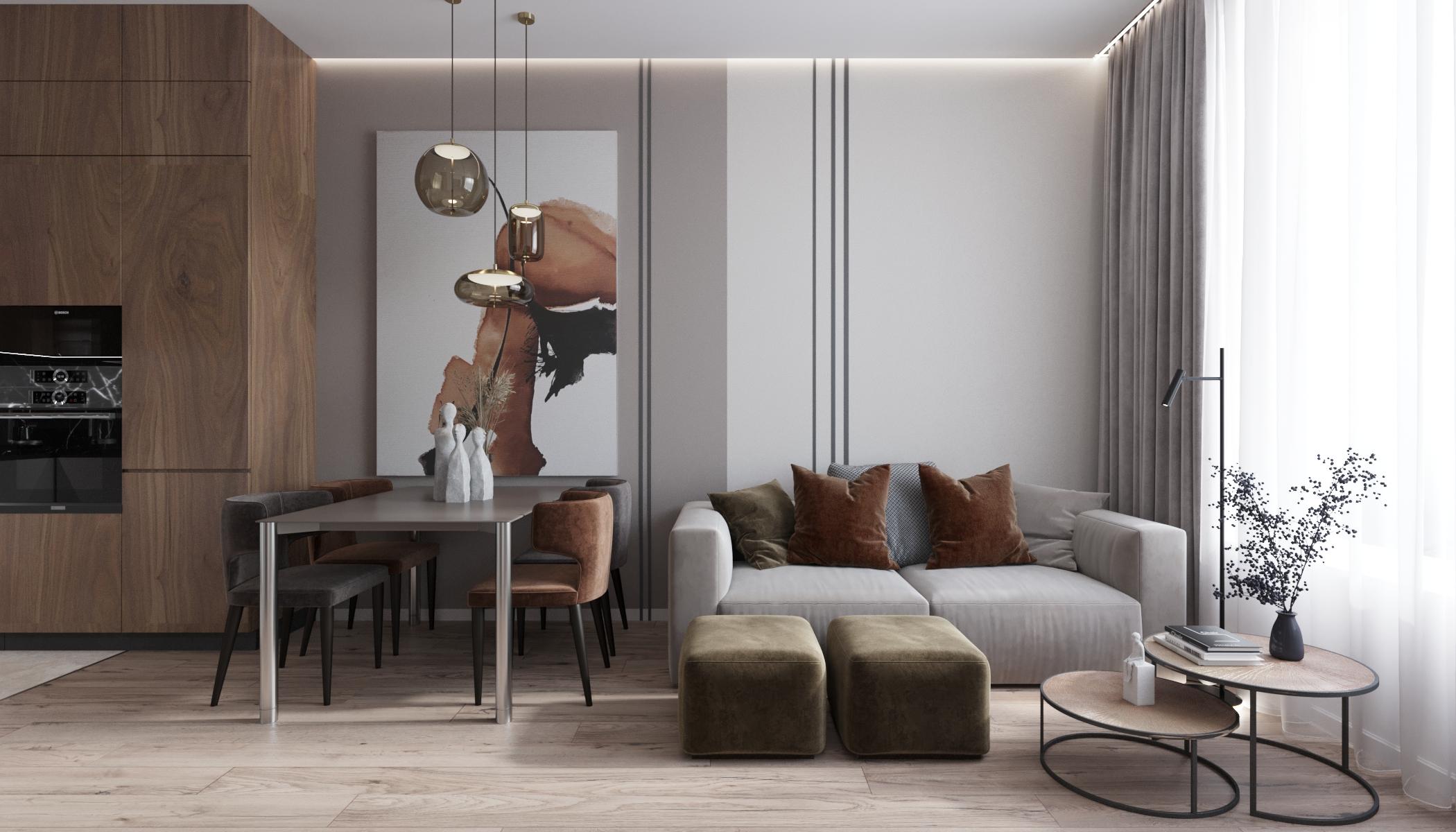 Основную составляющую интерьера гостиной заключает в себе цветовое решение стен, мебели и декора